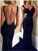Long Black Beading Backless Sexy Fashion Cocktail  Evening Party Prom Dress S6437