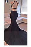Sexy Mermaid Long  Backless Sweep Train Prom Dress with Side Slit  S6507