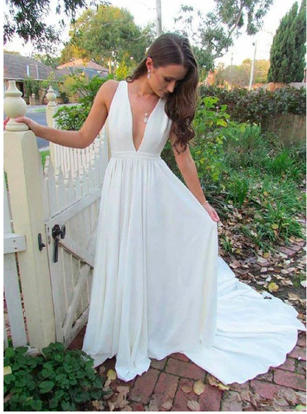 Simple white v neck long prom dress, white evening dress  S6341