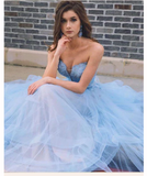 Light Sky Blue Prom Dresses A-line Sweetheart Lace Beading Modest Long Prom Dresses S6417
