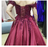 A Line Burgundy Off the Shoulder Lace Up Back Applique Satin Long Prom Dress S6501