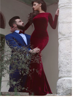 Red prom dress, Mermaid Simple Long Sleeve Long Prom Dress Evening Dress S6418