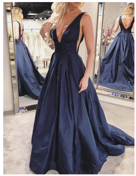Sexy A Line Deep V Neck Navy Blue Prom Dresses with Ruffles Evening Dress  S6467