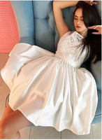White lace satin short  homecoming dress  S6330