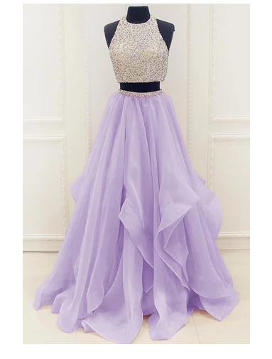Lilac New Arrival Modest Organza Prom Dresses,Stunning Sequin Two Piece Prom Dress S6473