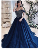 Princess A Line Off the Shoulder Navy Blue Prom Dresses Long with Beading S6468