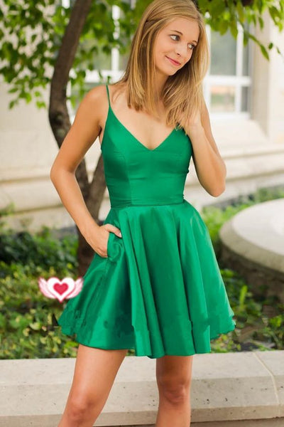 Spaghetti Straps Short Green Homecoming  Dress S02