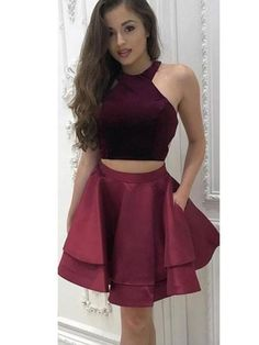 A-Line Sleeveless Halter Satin With Ruffles Two Piece Short Homecoming Dresses S357