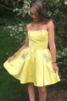 Short Yellow Cocktail Party Gown with Rhinestones Pocketse S07