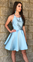 Princess Halter Short Light Sky Blue Homecoming Dress S08