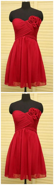 Red Sweetheart Short Homecoming Dresses With Flower   S1000
