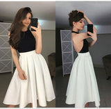 New Arrival Simple Halter Black and White Backless Short Homecoming Dress for Teens    S1001