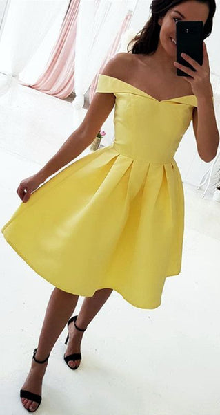 Off The Shoulder Short Yellow Homecoming Dress    S1003