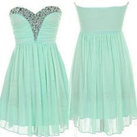 New Arrival Mint Green Homecoming Dress,Chiffon Short Homecoming  Dress   S1006