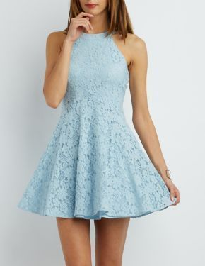 Lace  Blue Short Homecoming Dress    S1009