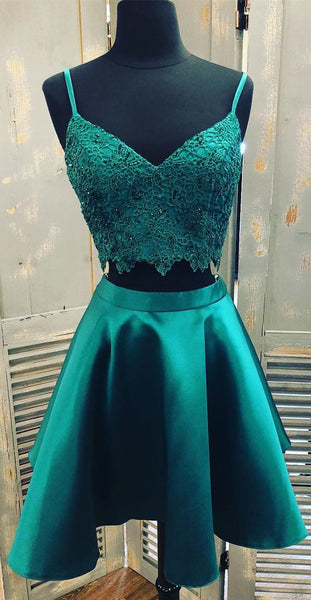 Straps Two Piece Emerald Green Homecoming Dress with Lace Crop    S1011