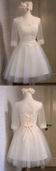 Elegant Short Tulle Homecoming Dresses Lace A Line Style With Appliques Lace     S1016
