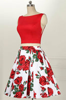 Two Piece Bateau Sleeveless  Red Printed Satin Homecoming Dress     S1017