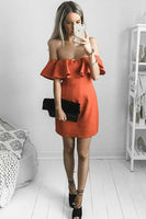 A-Line Off-the-Shoulder Short Orange Satin Homecoming Dress with Ruffles   S1029