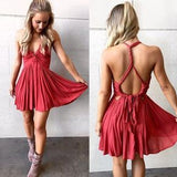 Cute Chiffon Homecoming Dress,Halter Backless Sexy Short Dress,Mini Graduation Dress S102