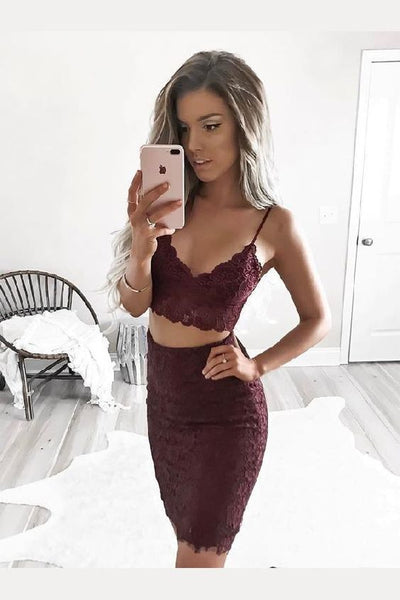 Two Pieces Homecoming Dresses, Homecoming Dresses Lace   S1033