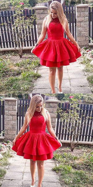 A-Line Sleeveless Tiered Red Short Homecoming Dress With Lace  S1044