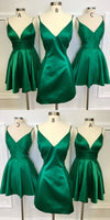 A Line V Neck Short Green Homecoming Dress  S1050