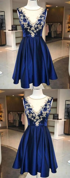 Fashion A-Line Jewel Sleeveless Short Homecoming Dresses With Appliques  S1054