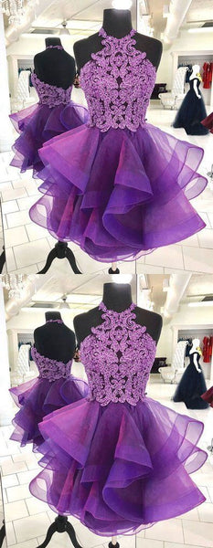 Cute purple tulle lace short prom dress, purple homecoming dress   S1059