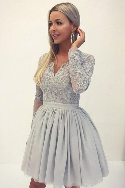 Chic V Neck Long Sleeves Grey Lace Homecoming Dress    S1062