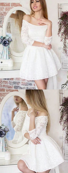 Off the Shoulder 3/4 Sleeves White Lace Short Homecoming Dress  S1064