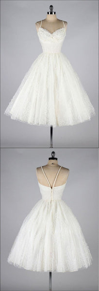 Vintage A-Line  V-Neck Homecoming Dress,White  Short Homecoming Dress   S1070