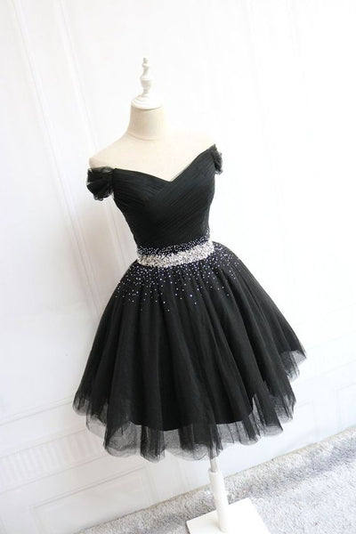 Black tulle off shoulder short homecoming  dress, black homecoming dress  S1071