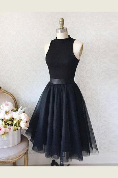 Sleeveless Homecoming Dress, Homecoming Dress Black, A-Line Homecoming Dress, Simple Homecoming Dress, High Neck Homecoming Dress S1080