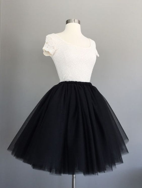 White Lace Top And Black Tulle Short Homecoming Dress  S1082