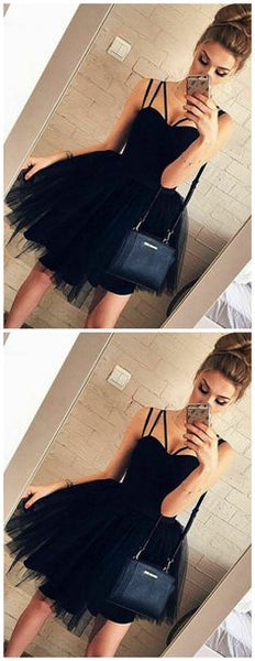 Formal  Short Tulle Tutu Dress , Black Homecoming Dress S1084