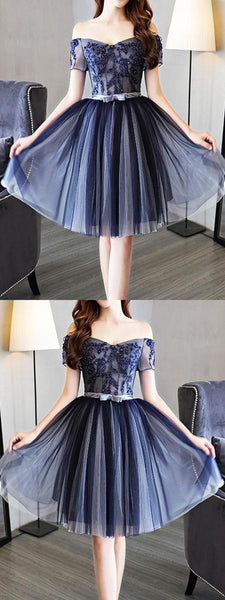 Homecoming Dress Simple,Short Sleeve Homecoming Dress S1087