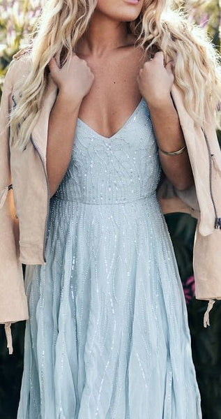 Elegant A Line Prom Dress With Sequins Beads, Fashion Blue Spaghetti Straps Light Blue Party Dress S1088