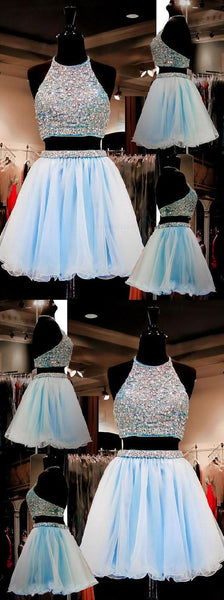Light Blue  Two Pieces Short Homecoming Dress  S1090