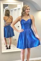 Strappy Short Royal Blue Homecoming Dress   S1095