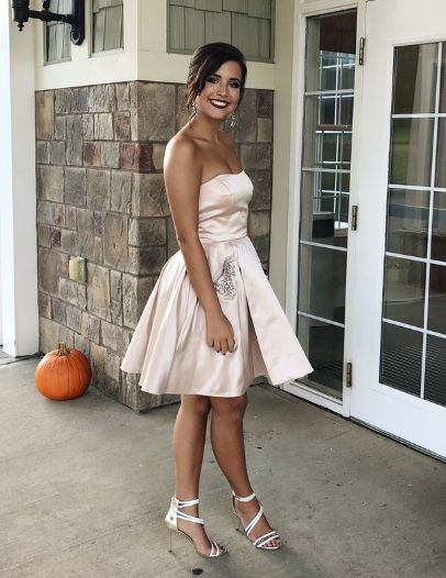 Short Strapless Champagne Homecoming Dresses Party Dresses  S1096