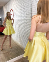 Simple Straps Short Yellow Homecoming Dress  S1097