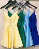 Homecoming dresses short, yellow/green/sky blue/royal blue homecoming dresses S1100