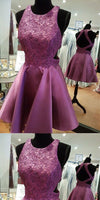 Stunning Purple Lace Applique Homecoming Dresses With Beading S1102