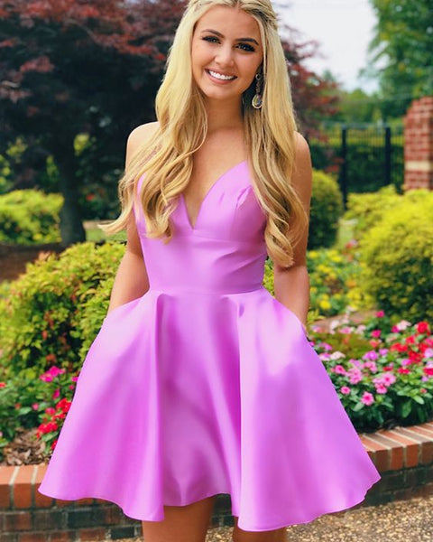 Simple V-neck Light Purple Homecoming Dress with Pockets S1103