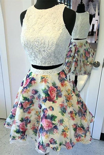 Two Piece  Round Neck Dress ,Ivory Dress,Printed Dress,Short Homecoming Dress S1106