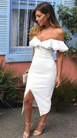Off The Shoulder White Homecoming Dresses,Simple Dresses With Slit S1107