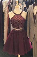 Two Piece Short Burgundy Tulle Homecoming Dress  S1110