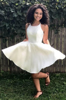 Sleeveless Satin Ivory Homecoming Dresses   S1112
