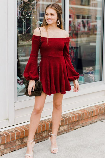A-Line Off-the-Shoulder Long Sleeves Short Dark Red Velvet Homecoming Dress   S1114